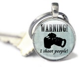 Camera Keyring gifts for photographers blue camera charm for keys or zip Keychain camera key fob