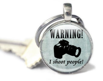 Camera Keyring, gifts for photographers, blue camera charm for keys or zip Keychain, camera key fob