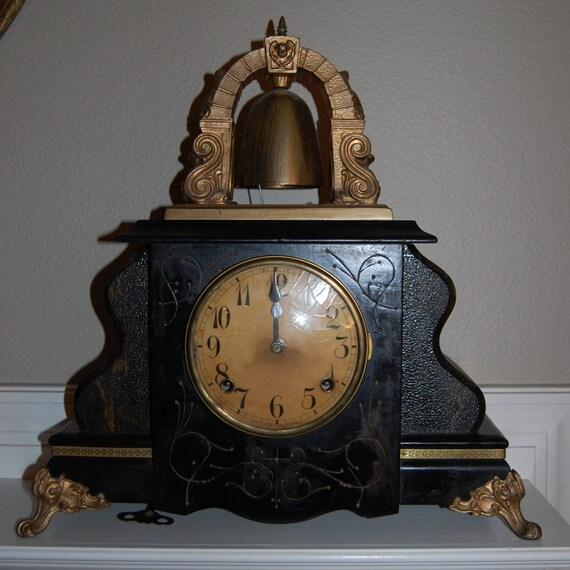 Beautiful Antique Gilbert Mantle Curfew Clock By Antiquemeup