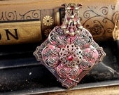 Regal Tile - brass and sculpey pendant