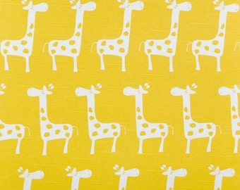 Yellow Giraffe Fabric by the Yard yardage Premier Prints Gisella Stretch Corn yellow on white cotton slub upholstery SHIPsFAST