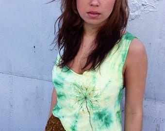 Hand-Painted Green Dandelion Asymmetrical T-Shirt