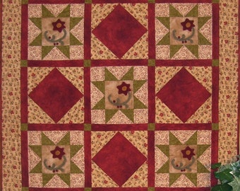Lazy Daisies - Wool on Cotton Applique Quilted Wall Hanging Pattern
