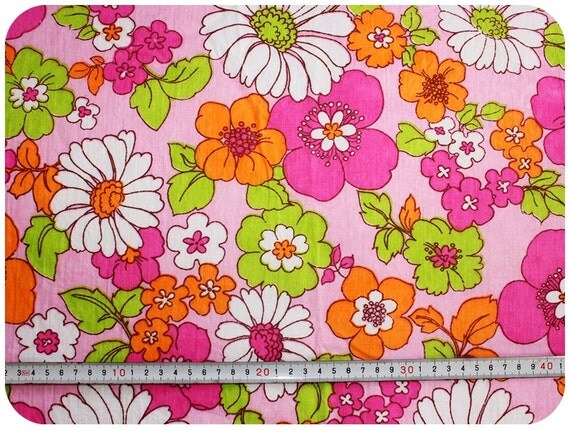 Floral retro vintage fabric NOS - with neon colours