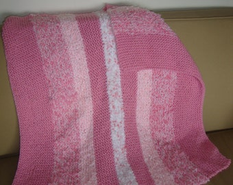 "Perfectly Pink Handknitted Yarn Blanket--34""x34"""