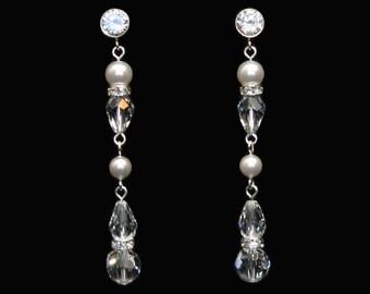 Crystal & Pearl Bridal Earring BSE-126CZ - Swarovski crystal, pearl