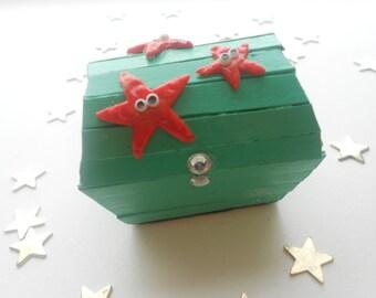 Miniature Treasure Chest Trinket Box - Starfish Trio