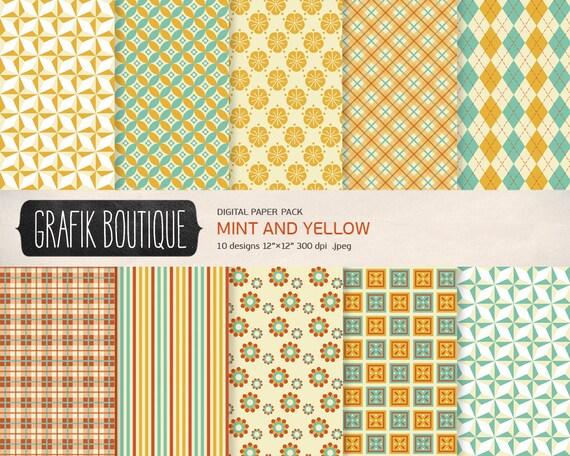 minze gelben muster digital scrapbook papier pack sofortiger. Black Bedroom Furniture Sets. Home Design Ideas