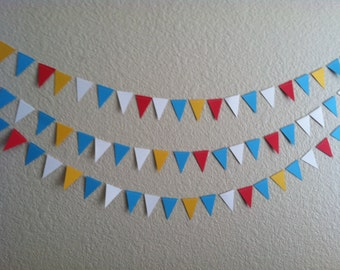 Pennant style carnival or circus themed confetti garland banner