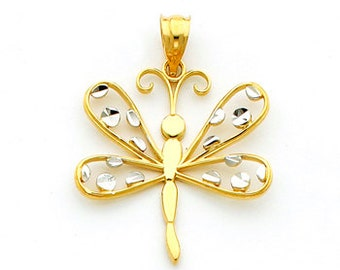 14kt gold Two-tone Dragonfly Pendant