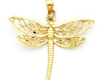 14Kt Gold Dragonfly Pendant with Filigree and diamond cut polka dot accents in the wing.