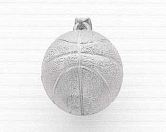 Sterling Silver 3-D Basket Ball Charm.