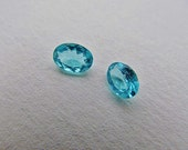 Cabochon: gemstone - natural apatite - faceted oval cut - 7x5mm - light blue