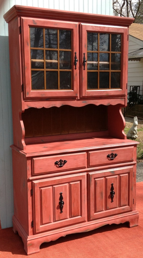Barn Red China Cabinet Hutch Shabby Countrycharm