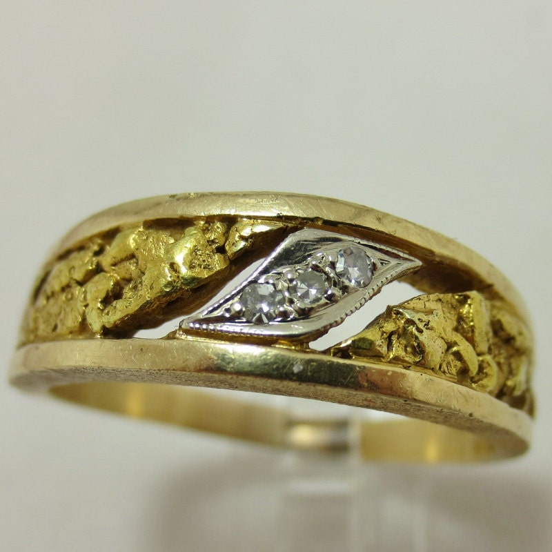 gold nugget ring from nome alaska by britanniajewelry