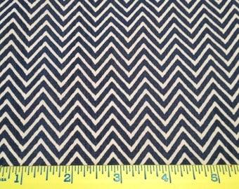 SALE Blue  Fabric Finders chevron 100% cotton fabric