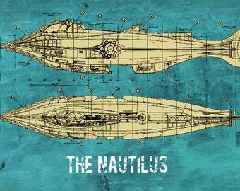 Victorian Nautilus Jules Verne Steampunk Blueprint 8x12 Print