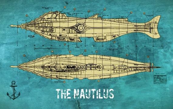Victorian Nautilus Jules Verne Steampunk Blueprint