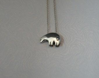 Sterling Silver Sun Bear Pendant, Lg w/Heart