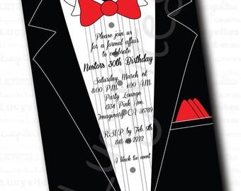 Black Tie Event Tuxedo Digital Invitation