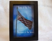 Framed Photo American flag w/ quote