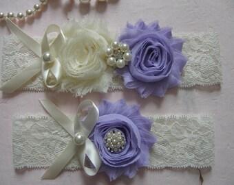 Garter / Ivory / Lavender / Vintage Inspired Lace Garter / Wedding Garters / Bridal Garter / Toss Garter / Garter Set