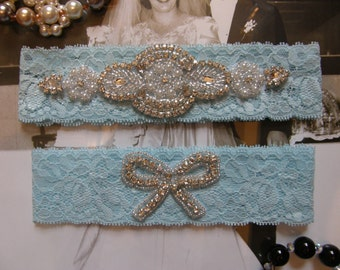 Something Blue / Crystal Rhinestone &Pearl / Wedding Garters / Bridal Garter Set / Vintage Inspired
