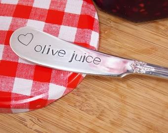 olive juice- Hand Stamped Vintage Silverware Knife, cheese knife