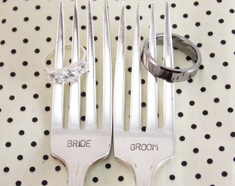Bride Groom Fork Set - Hand Stamped Vintage Silverware, wedding forks, wedding gift