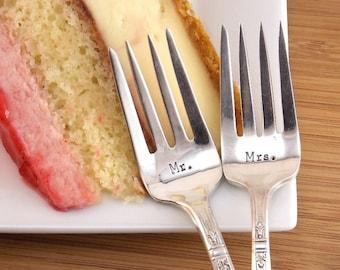 Mr. / Mrs. Dessert Fork Set - Hand Stamped Vintage Silverware, wedding silverware, wedding gift
