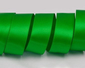 "Classical Green Ribbon, Double Faced Satin Ribbon, Widths Available: 1 1/2"", 1"", 6/8"", 5/8"", 3/8"", 1/4"", 1/8"""