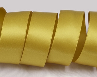"Dijon Gold Ribbon, Double Faced Satin Ribbon, Widths Available: 1 1/2"", 1"", 6/8"", 5/8"", 3/8"", 1/4"", 1/8"""