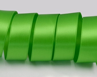 "Apple Green Ribbon, Double Faced Satin Ribbon, Widths Available: 1 1/2"", 1"", 6/8"", 5/8"", 3/8"", 1/4"", 1/8"""