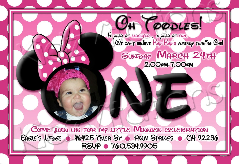 Diy Minnie Mouse 1st Birthday Invitations Minnie Mouse 1st Birthday