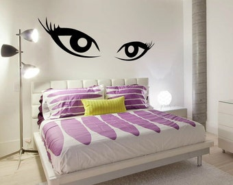Eyes Wall Decal Cute Vinyl Sticker Home Arts Square Wall Decals Monogram WT039