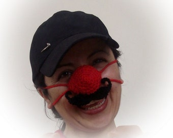 Red nose warmer with or without  mustache- Crochet Nose Warmer