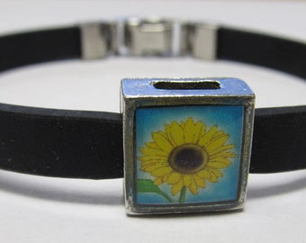 Summer Sunflower Link With Choice Of Colored Band Charm Bracelet