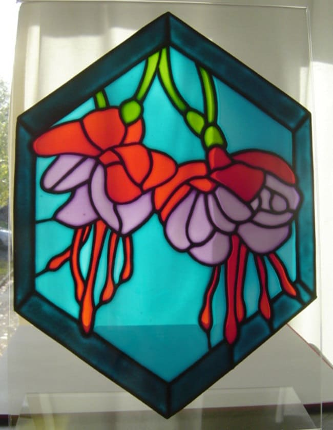 fuchsia stained glass effect window painting window cling. Black Bedroom Furniture Sets. Home Design Ideas