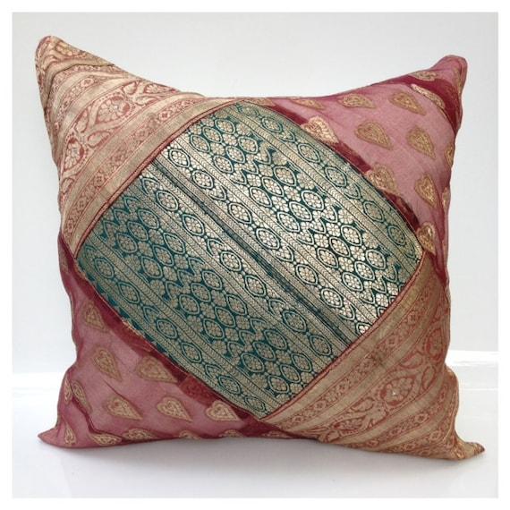 Multicolor decorative pillow purple turquoise metallic