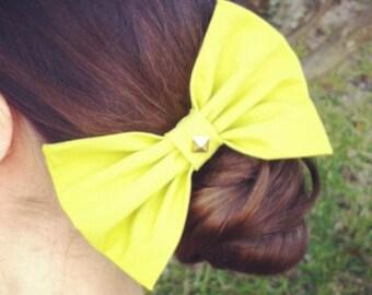 SALE Lime Green Studded Hair Bow