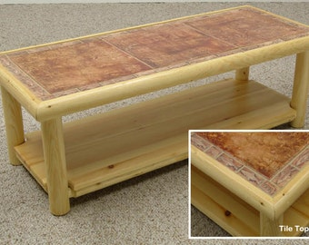 Log furniture Rustic Snow Creek Tile Coffee Table