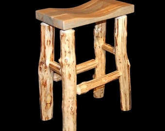 Rustic Mountain Hewn Bar Stool concave seat