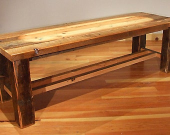Reclaimed Wood Rustic Heritage Cross Cut Bench