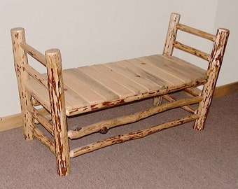 Rustic Mountain Hewn Bed Side Bench