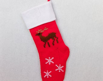 Hand-knitted Personalized Christmas Stockings: Reindeer