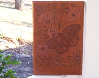 Butterfly with Morning Glory  Woodburning Pyrography