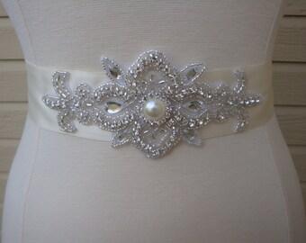 Bridal Sash - Wedding Sash - Rhinestone Bridal Sash - Wedding Dress Sash