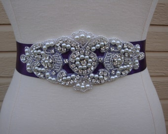 Bridal Sash - Wedding Dress Sash Belt - Plum Purple Pearl and Rhinestone Sash - Purple Rhinestone Bridal Sash