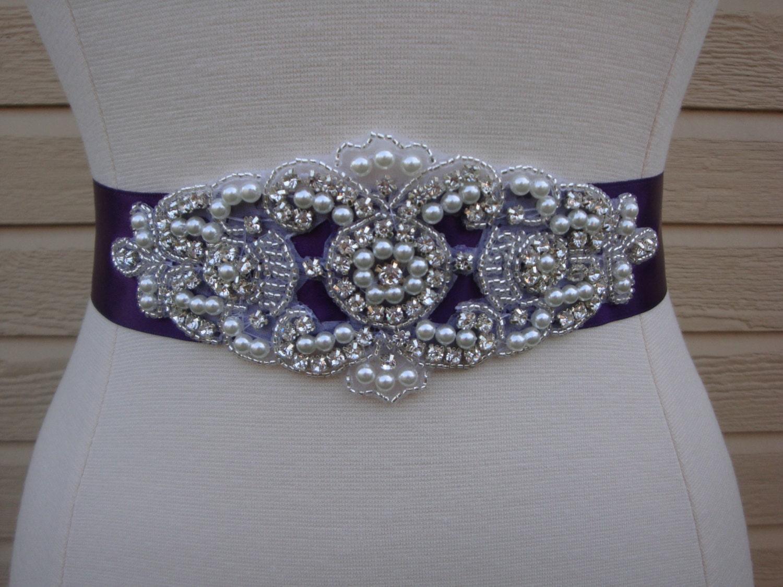 Unique Wedding Dress Sashes Belts: Bridal Sash Wedding Dress Sash Belt Plum Purple Pearl And