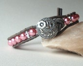Single leather wrap bracelet, beaded, rose pearls, shabby chic, boho, rustic, vintage bracelet